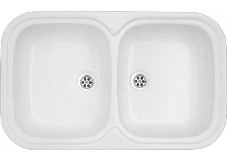 Acrylic sink 79 x 48 cm double bowl top mount
