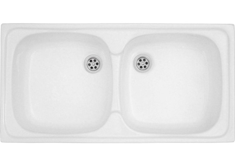 Acrylic sink 80 x 40 cm  double bowl top mount