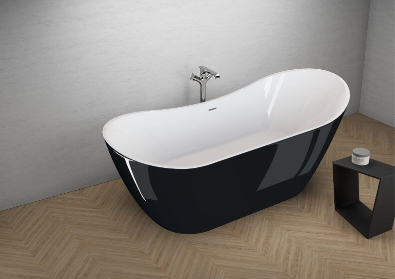 Acrylic freestanding bathtub ABI BLACK SHINE 180 x 80 cm