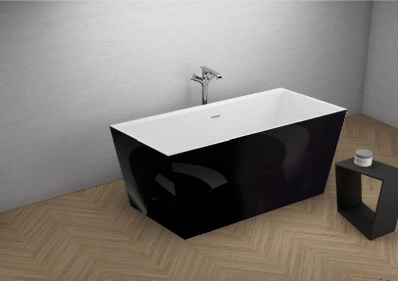 Acrylic freestanding bathtub LEA BLACK shine 170 x 80 cm