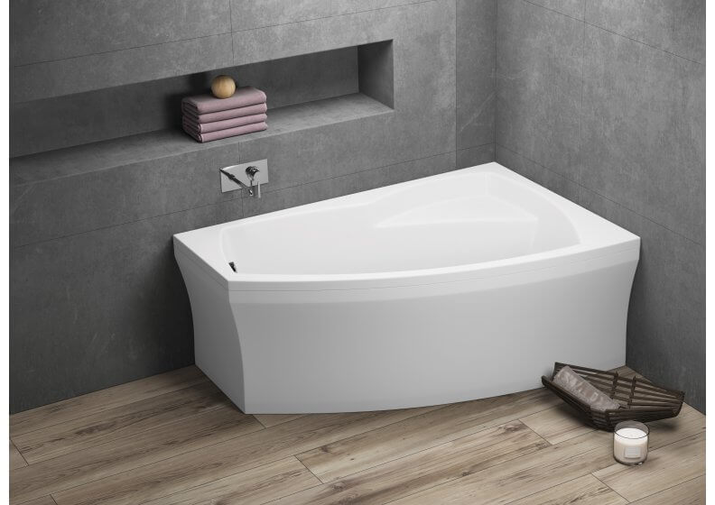 Acrylic asymmetrical corner bathtub FRIDA 2