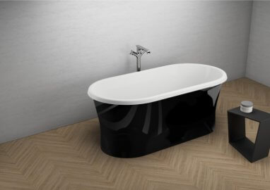 Acrylic freestanding bathtube AMONA NERO NEW Shine 150 x 75 cm