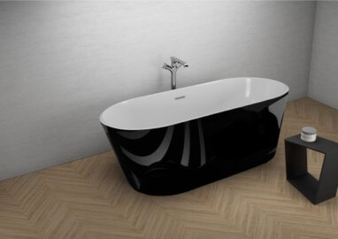 Acrylic freestanding bathtube UZO BLACK SHINE 160 x 80 cm