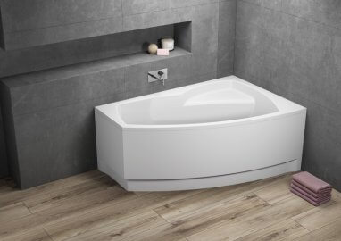 Acrylic asymmetrical corner bathtub FRIDA 1