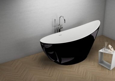 Acrylic freestanding bathtube ZOE BLACK Shine 180 x 80 cm